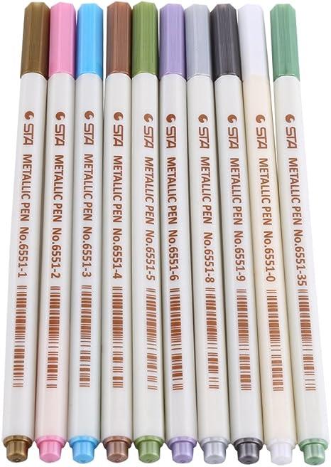 int!rend Metallic Marker 10 Stifte Set mit feiner Spitze für DIY Fotoalbum