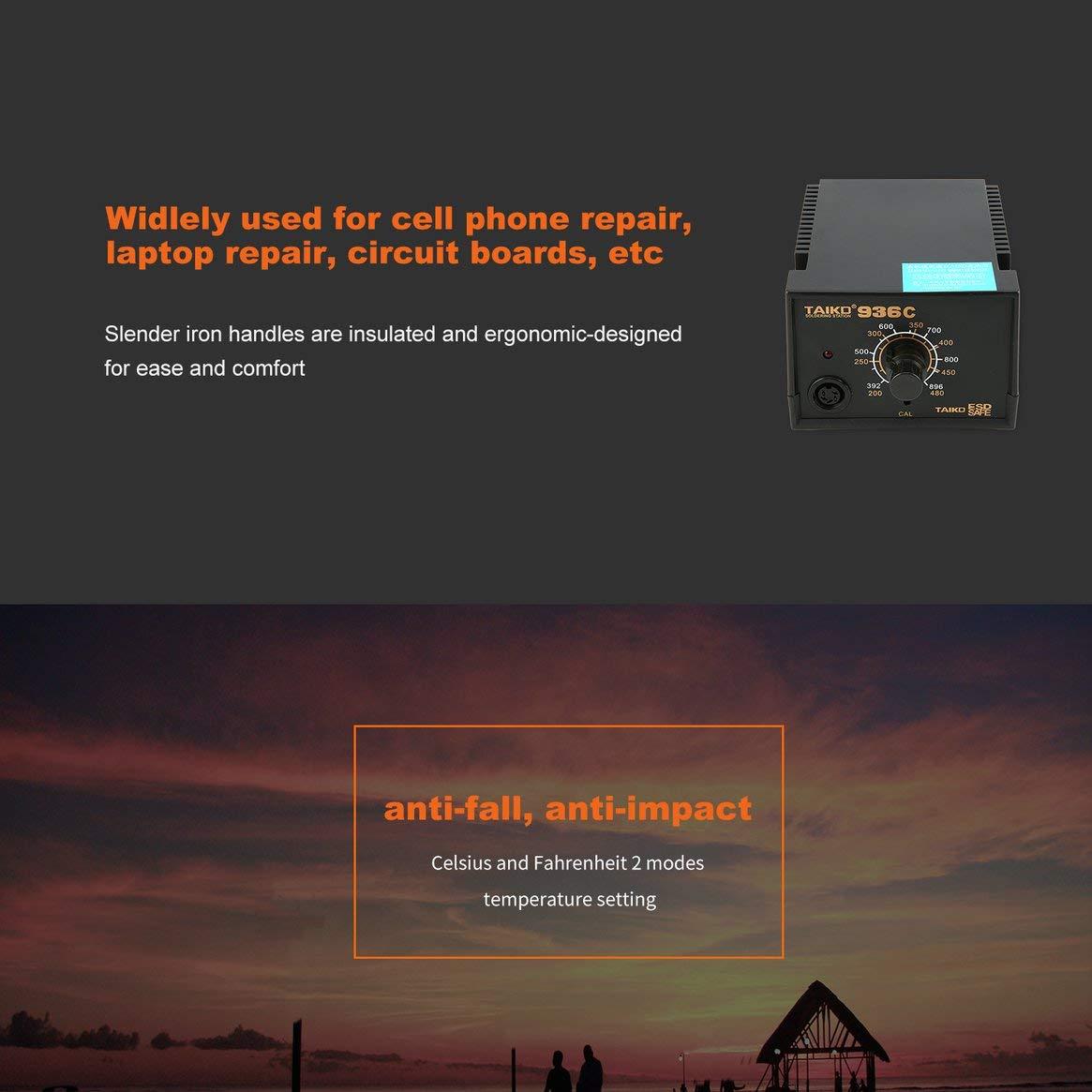 Tipo de enchufe 60W Temperatura constante antiestática Estación de soldadura multifuncional Soldador de hierro - Negro: Amazon.es: Bricolaje y herramientas