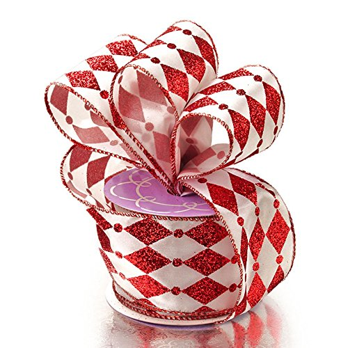 Red/White Harlequin Satin Glitter Wired Ribbon - 2 1/2in. Width - 10 - Glitter Harlequin