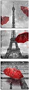 Meiji Paris Eiffel Tower Canvas Wall Art Decor Red Umbrellas Poster Prints Pictures Artwork for Living Room Ready to Hang (Red, 12X12inchx3 (30x30cmx3))