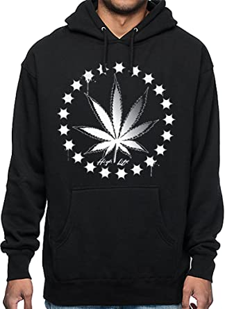 Kush Life Mens Heavyweight Pullover Hoodie Marijuana Weed Print