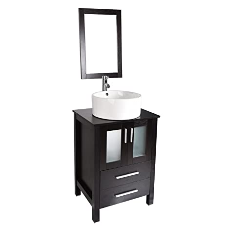 24 Inch Bathroom Vanity, Modern Stand Pedestal Cabinet With Round Ceramic  Porcelain Sink Top