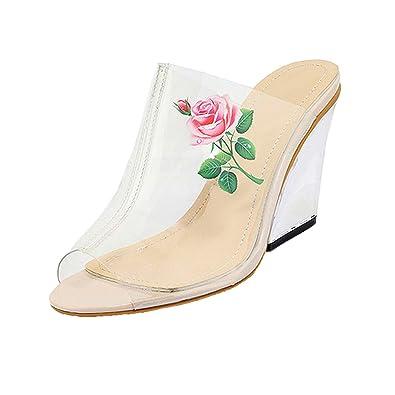 86bd3438de Amazon.com | Pumps Shoes High Heels Women Glass Slipper Sandals Peep Toe  Flower Floral Print Wedge Slides | Sandals