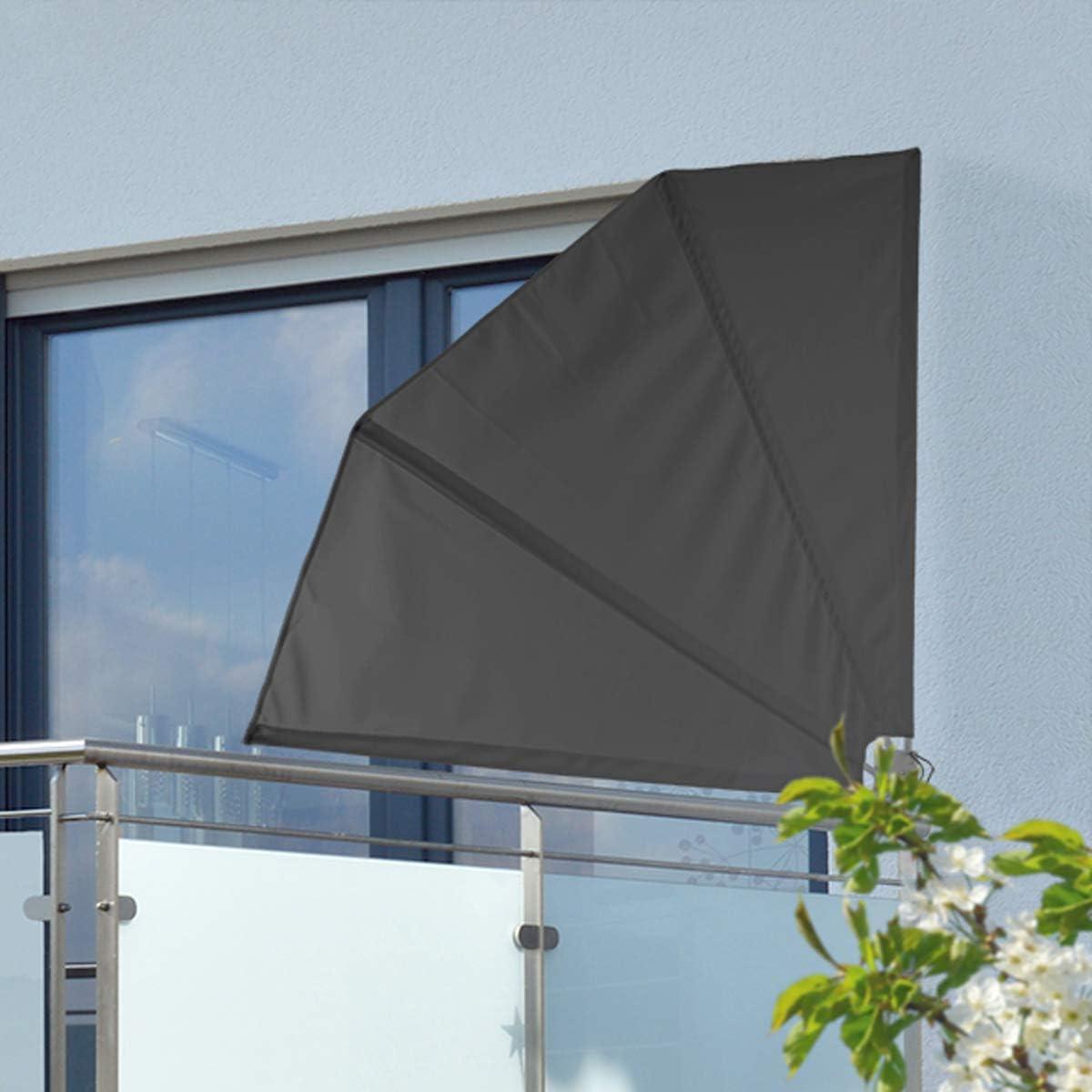 Amazon De Finehome Praktischer Sonnenschutz Balkon Sichtschutz Grau Windschutz 120 Cm X 120cm Balkonblende Klappbar