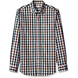 Dockers Men's Comfort Stretch Soft No Wrinkle Long Sleeve Button Front Shirt, Pembroke Navy Gingham, X-Large