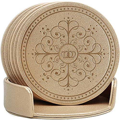 (Drinks Coasters,Classic Pattern Faux Leather Coaster Set of 6 with Holder Absorbent Coasters by Happydavid (gold round))