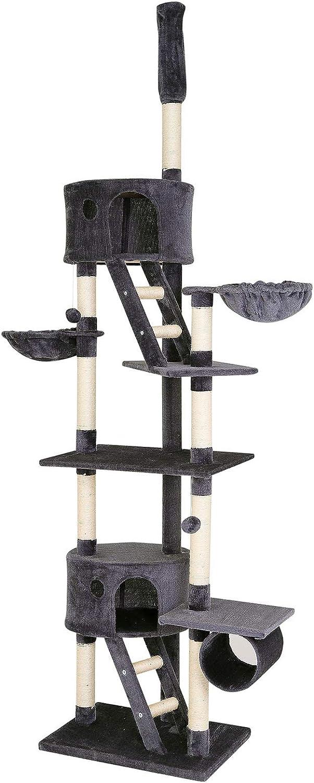 dibea Árbol rascador árbol para escalar árbol rascador para gatos Altura ajustable 230-250 cm Gris oscuro