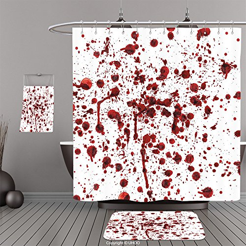 Uhoo Bathroom Suits & Shower Curtains Floor Mats And Bath TowelsBloody Splashes of Blood Grunge Style Bloodstain Horror Scary Zombie Halloween Themed Print Red WhiteFor Bathroom