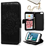 iphone 5 ca se - iPhone SE & 5 & 5S Case, MOLLYCOOCLE Stand Wallet Premium PU Leather Skin Cover Magnetic Flip Folio TPU Cushion Bumper Embossed Flower Design for iPhone SE & 5 & 5S & Bling Butterfly Dust Plug,Black