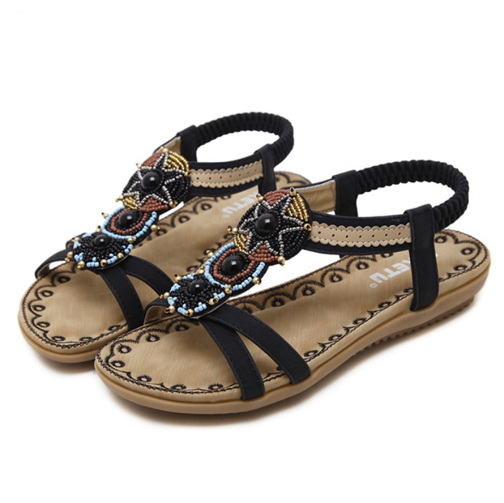 Hope Damen Damen Offene Zehen Thong Sandalen Style Knöchelriemen Flache Schuhe Bohemian Style Sandalen Beach Schuhe Sommer Flip Flop schwarz 228333