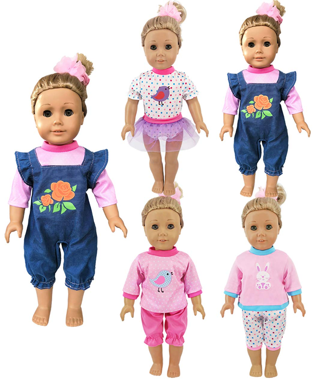 OG dolls//43cm New Born Baby Dolls//15 inch Bitty Baby Doll ebuddy 4 Sets Doll Clothes Include Top Skirt Jeans Pants Headband for 18 inch American Girl Dolls