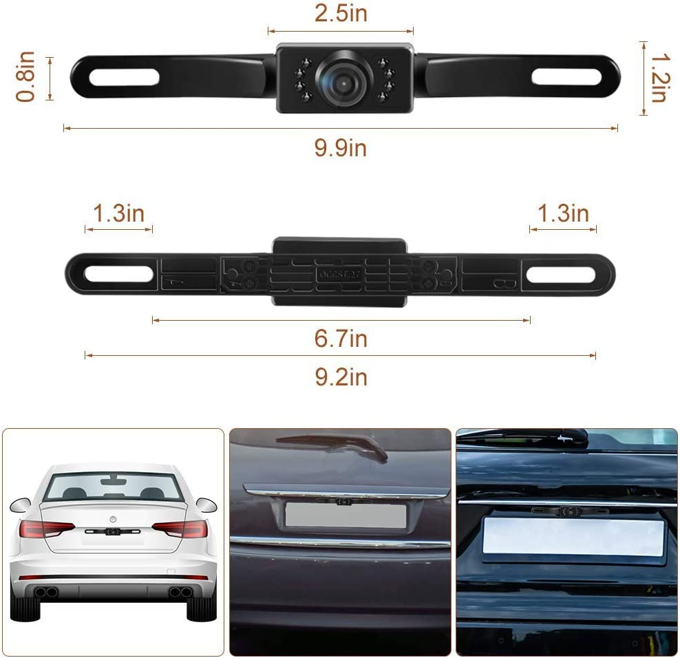 RV Fit All Monitors Waterproof IP68 HD Hidden License Plate Vehicle Backup Cameras SUV Night Vision 150/° Wide View Angle Rear View Camera for 12V Universal Cars License Plate Rear View Camera