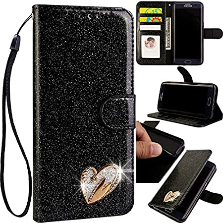 Ledertasche BookStyle Luxus Bling Glitzer Diamant Slim Leder Hülle Schutzhülle Scratch Bumper Flip Folio Wallet Stand Case Card Slots Pocket Shell Magnetverschluß Etui Case für Samsung A3 2017 6City8Ni