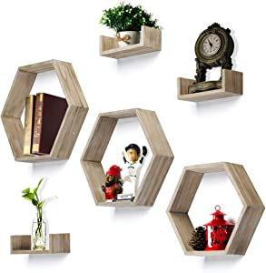 RR ROUND RICH DESIGN Wall Shelf Set of 6 - Rustic Wood 3 Hexagon Boxes and 3 Small Shelves Carbonized