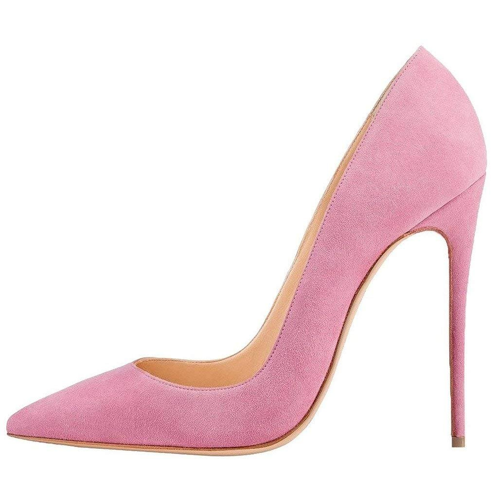 Pink suede CAITLIN-PAN Womens 12cm High Heels Pointed Toe Slip On Stilettos Leather Party Dress Pumps Size 5-15 US