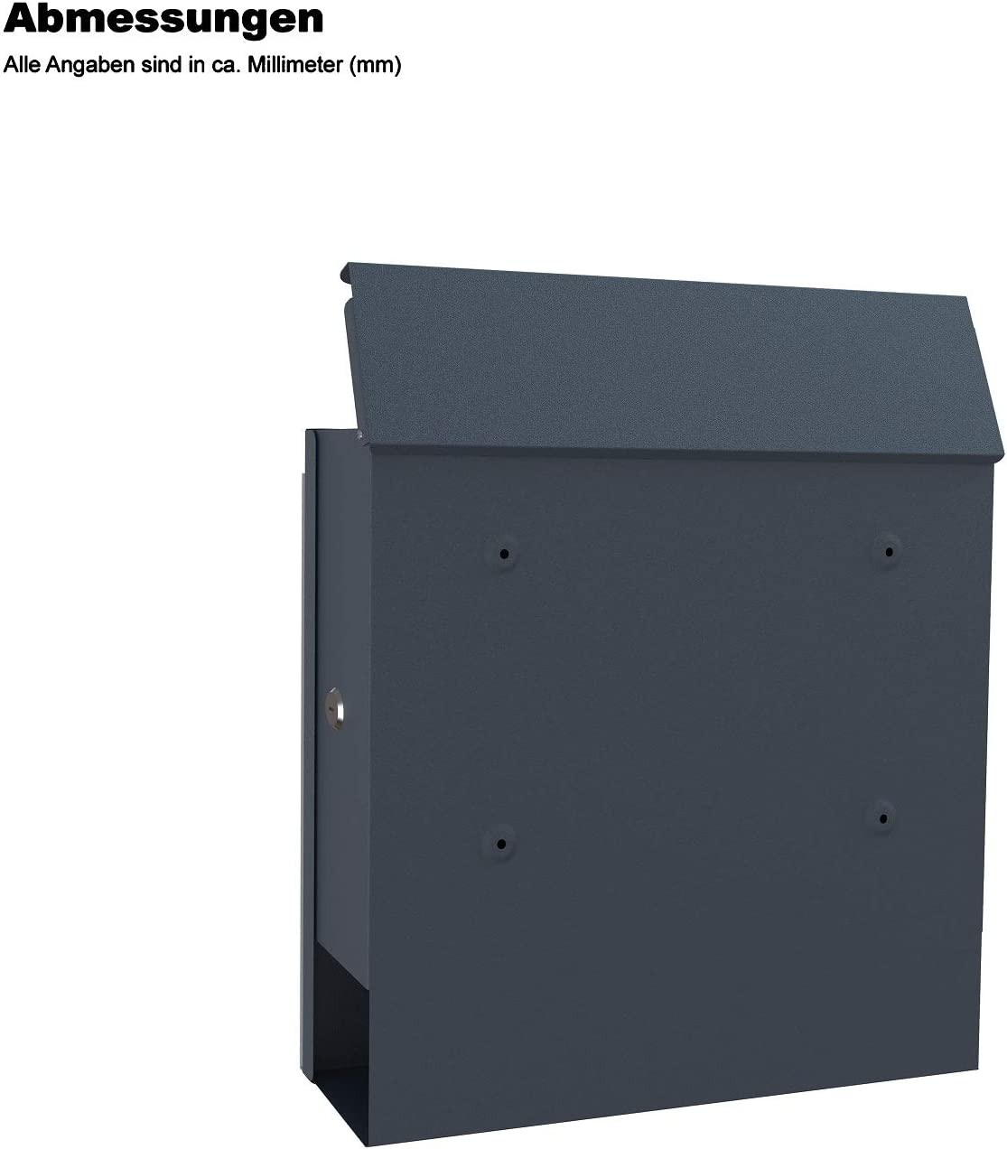 Clothink Letterbox Anthracite with Newspaper Compartment Viewing Window Lockable Powder-Coated Stainless Steel Name Plate