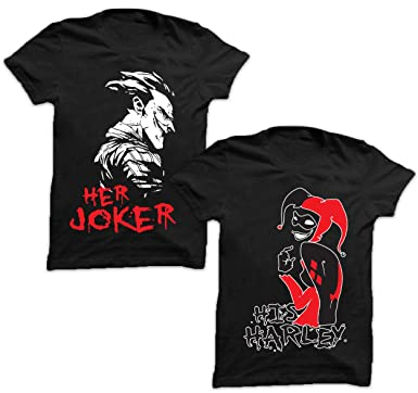 7ae3e886 Amazon.com: 2 Pieces Adult T-Shirts for Couples in Black-His Harley Her  Joker.: Clothing