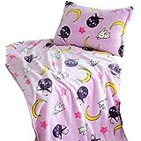GK-O Sailor Moon Blanket Pillow Case Tsukino Usagi Cosplay Purple Luna Blanket (Blanket 39.37in×39.37in)