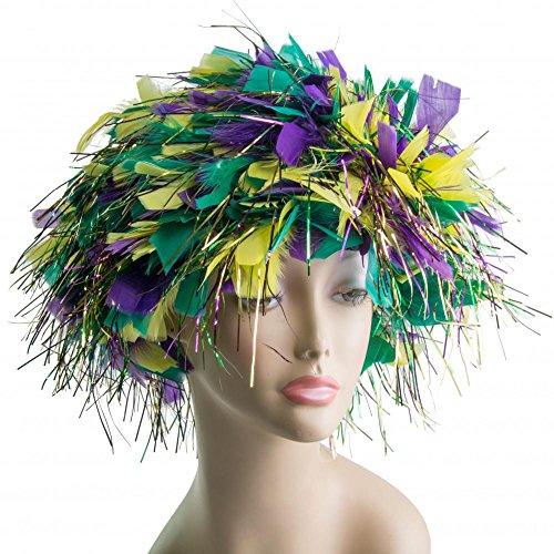 Boolala Mardi Gras Feathered Wig (Wig Mask)