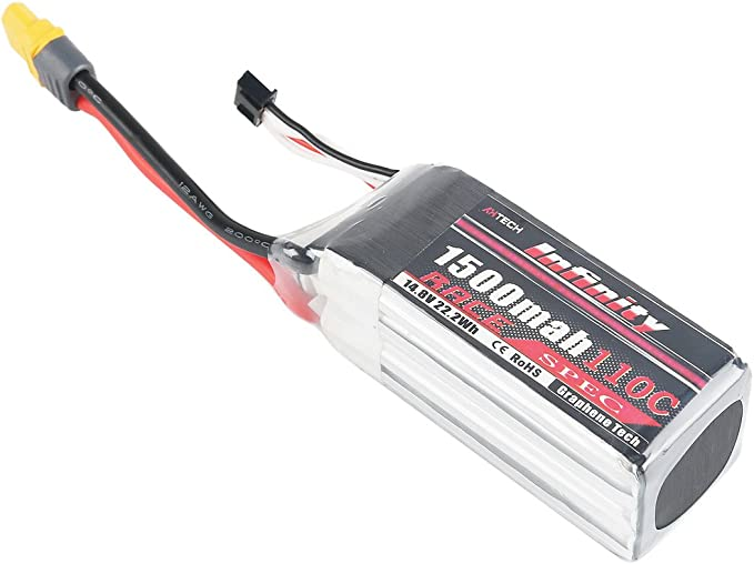 Crazepony-UK Infinity 4S LiPo Battery Graphene 1500mAh 90C 14.8V SY60 Plug Compatible with XT60 Connettore for FPV Racing Drone Quadcopter by