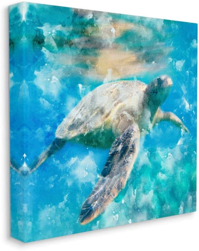 Stupell Industries Swimming Sea Turtle Aquatic Reptile Design Wall Art, 17 x 17, Blue