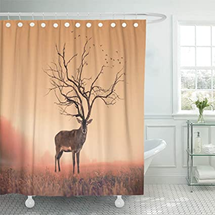 Emvency Shower Curtain Waterproof Adjustable Polyester Fabric Creative Conceptual Deer Stag Dry Tree As Red Animal
