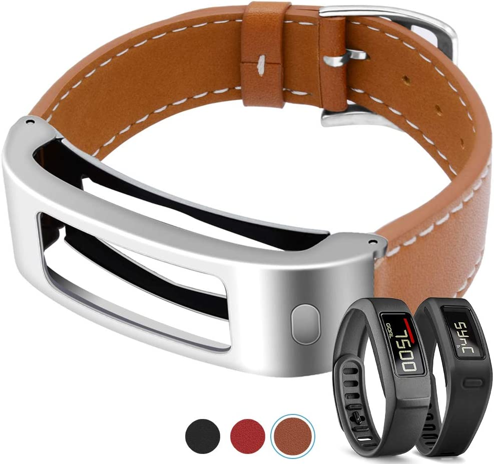 C2D JOY Compatible with Garmin vivofit //2 1st Silver Metal Case with Leather Band