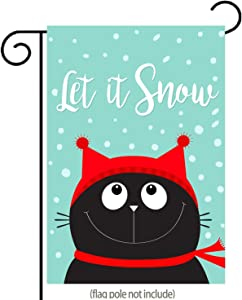 "uHome Let It Snow Garden Flag, Cute Funny Black Cat Kitten Head Face Looking Up, Red Hat and Scarf, Double-Sided, Winter/Christmas Yard Flag to Bright Up Your Garden 12.5"" x 18"""