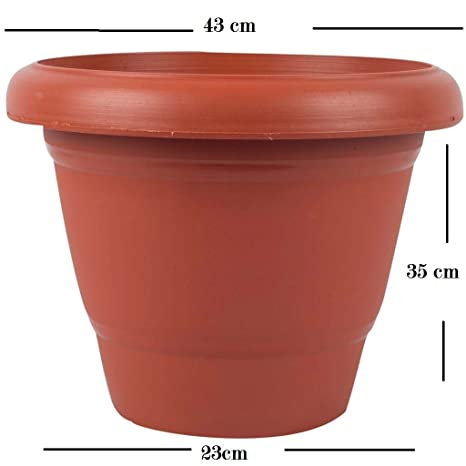 First Smart Deal 16 Inch Planter Pot Pack of 6 - Brown