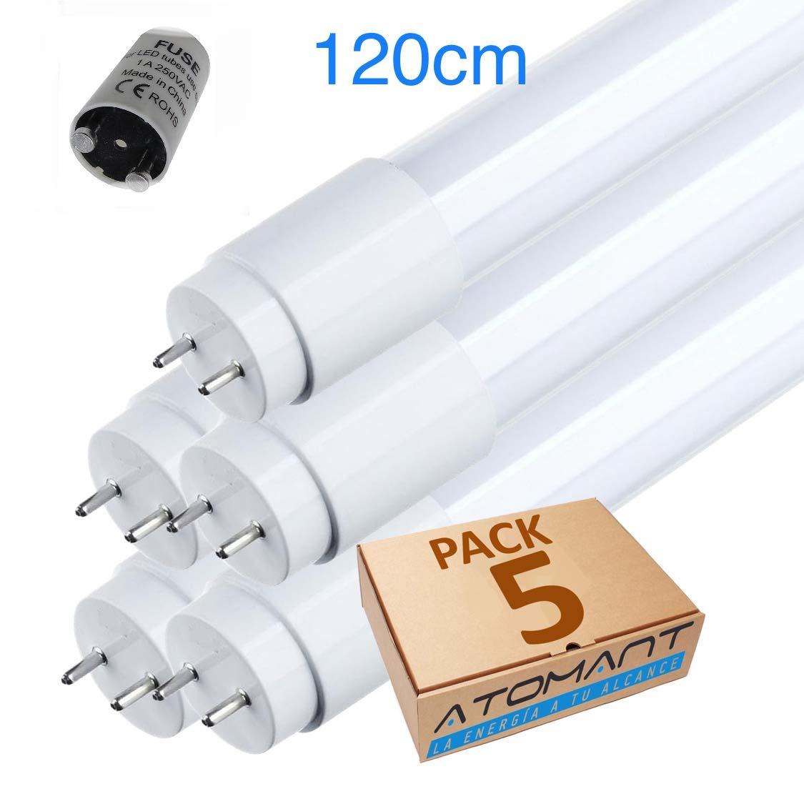 (LA) 5x Tubo LED 360 grados - 120cm, blanco frío (6500K)