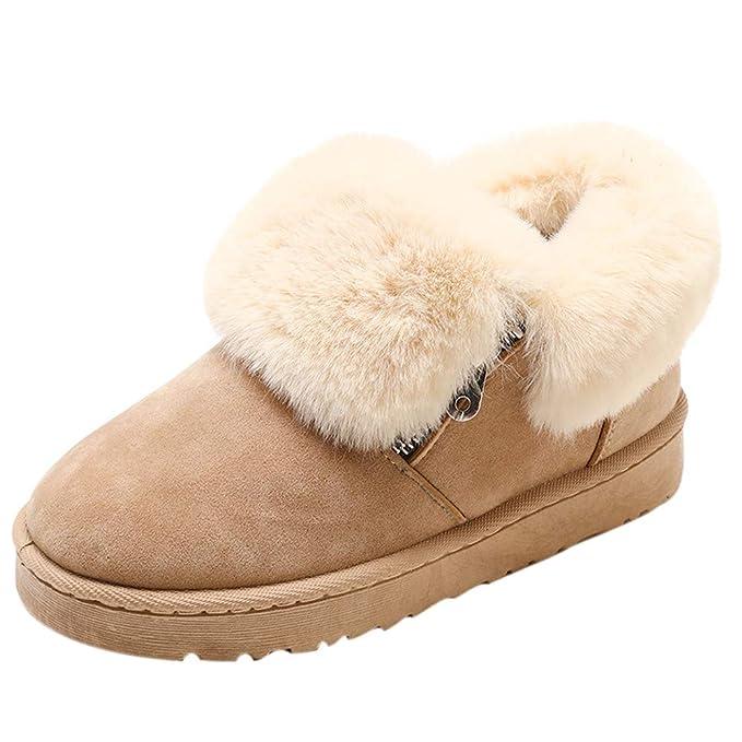 Color: ❤ Zapatillas de Nieve para Mujer, Botines de Invierno de Felpa para Mujer Botas