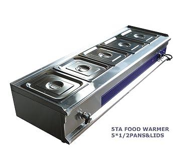 Amazon.com: 5-Pan Bain-Marie Buffet Food Warmer Restaurant Kitchen ...