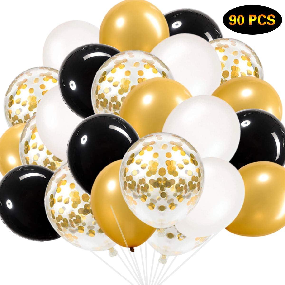 Globos negros y dorados, globos de confeti dorados Globos blancos y dorados negros Globos de fiesta de 90 pzas para fiesta de despedida de soltera Fiesta de despedida de soltera Fiesta de cumpleaños