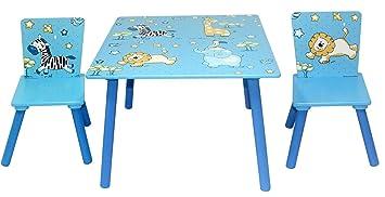 Bieco 74088936 mesa y 2 sillas de madera con diseño de jungla, Juego de mesa