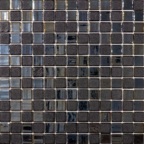 Susan Jablon Mosaics - Oil Black Textured Recycled Glass Mosaic