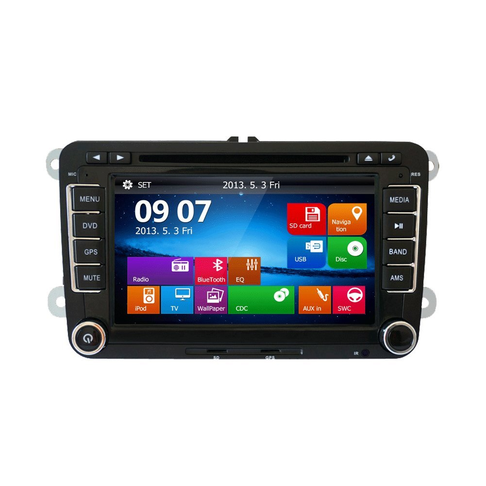 Win 8 UI double din Car Dvd Player stereo navigation in Dash Touch Screen for VW Universal car Color Black 7inch support Subwoofer IPOD Bluetooth free canbus and backup camera for VW car