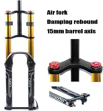 LSRRYD Horquilla Bicicleta 26 27.5 29 Pulgadas Control Doble Hombro MTB Suspensión Cuesta Abajo DH Presión del Aire Tubo Recto Amortiguador Bicicleta Ajuste Rebote (Color : Gold, Size : 26 Inch): Amazon.es: Deportes y aire libre