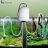 #9: Rhinox Aquarium Air Pump set --- With 2 Air stones, 2 hose - Powers 2 Tanks - Fish Tank Aerator with Regulating Valves - Fresh & Pure Air with Efficient, Practical, High-performing Aeration Pump