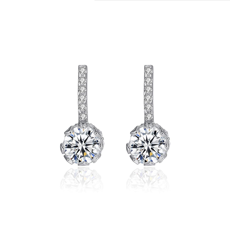 YIGEZHONGZI Sterling Silver Round Crystal Girl Stud Earrings For Lady Women Girls With Gift Box