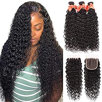 Image of Health and Household Water Wave Bundles Brazilian Virgin Human Hair Bundles With 4x4 Lace Closure Wet and Wavy Human Weave Bundles Hair Extensions Natural Color (18 20 22+16) Water Wave Bundles with Closure