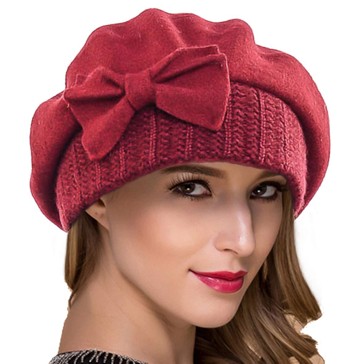 Ruphedy Women French Beret Knit Wool Beret Beanie Winter Dress Hats Hy022 (Claret)