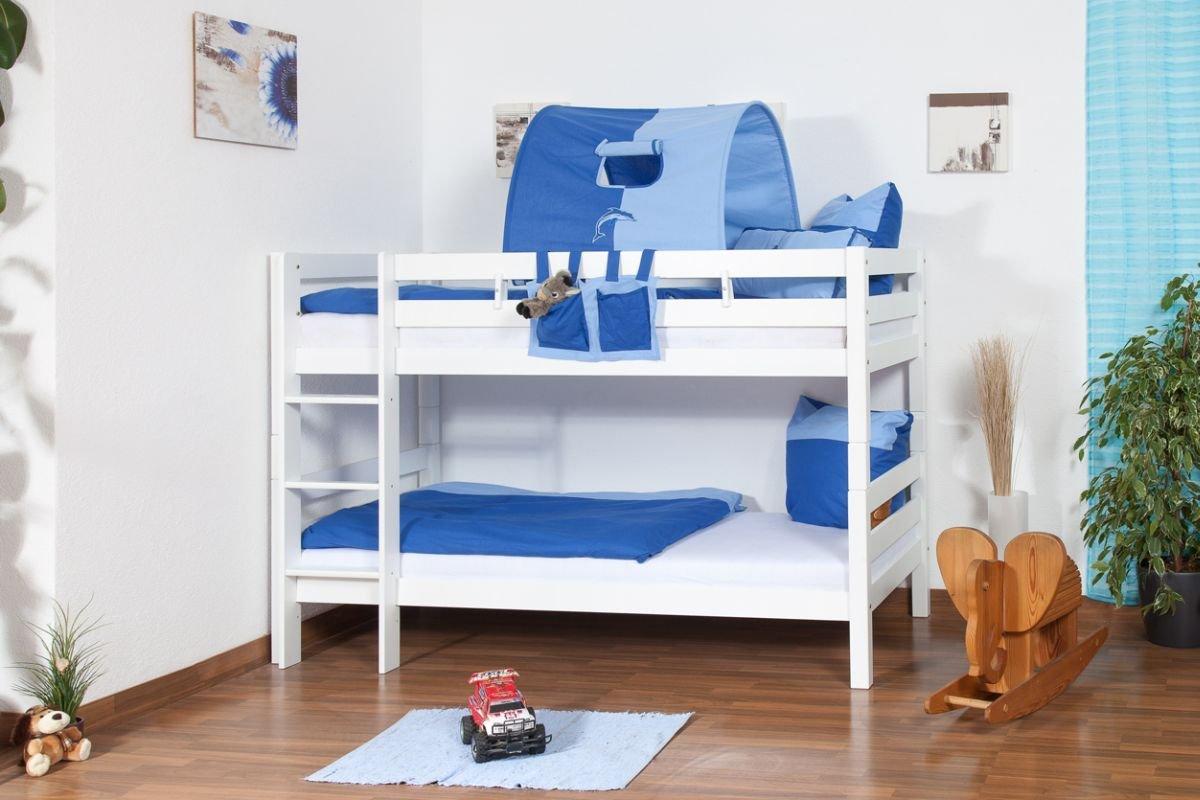 weißes Stockbett - Buche massiv 90x200 cm, teilbar auf 2 Betten ...