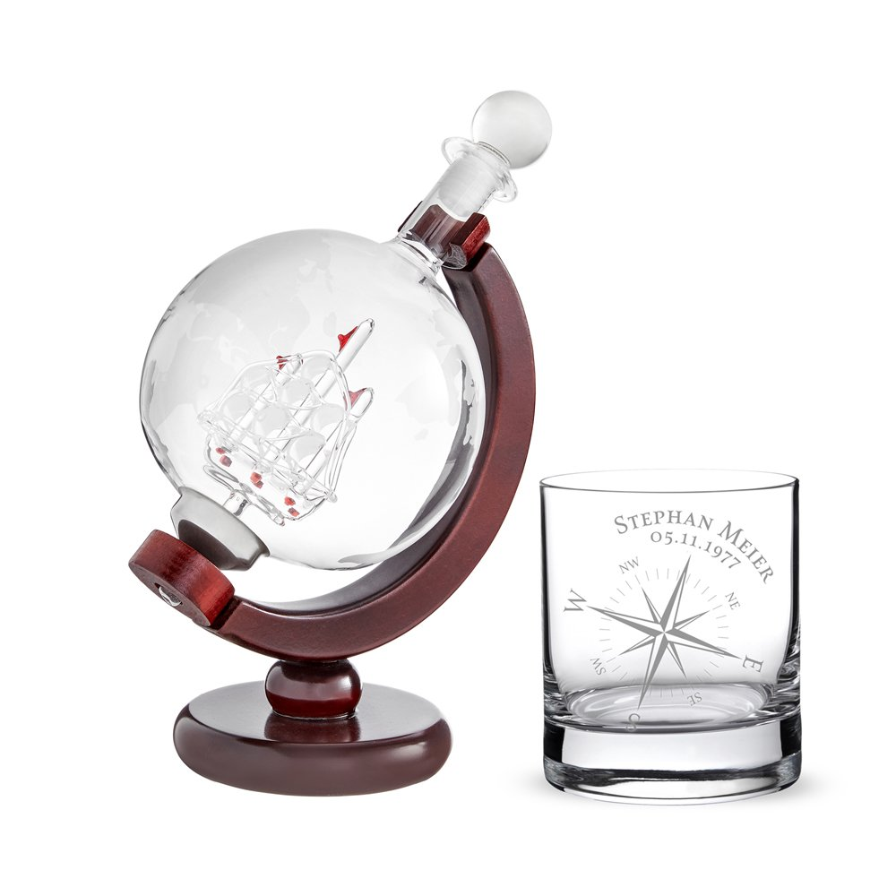 AMAVEL Whiskey Carafe Globe with Ship