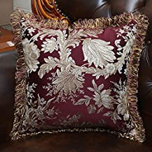 MeMoreCool Luxury Palace Satin Jacquard Throw Pillow Cover,Tassel Edge Decorative Pillowcases,Exquisite Embroidery Jacquard Sofa Cushion Cover