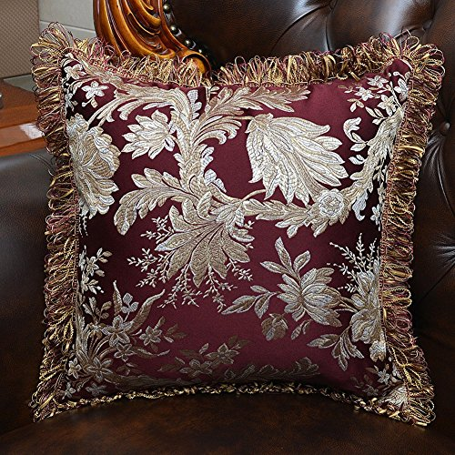 MeMoreCool Luxury Palace Satin Jacquard Throw Pillow Cover,Tassel Edge Decorative Pillowcases,Exquisite Embroidery Jacquard Sofa Cushion Cover (Decorative Pillows Tassel)
