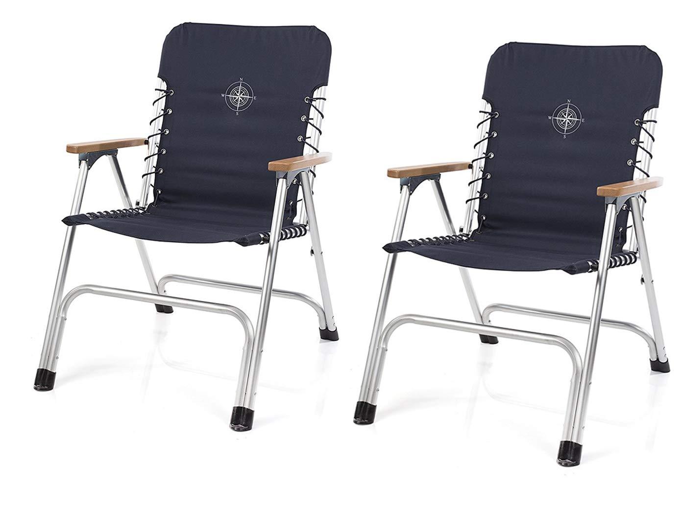 CAMPART TRAVEL Set da 2 sedie pieghevoli in blu navy con braccioli in legno + stampa a bussola.