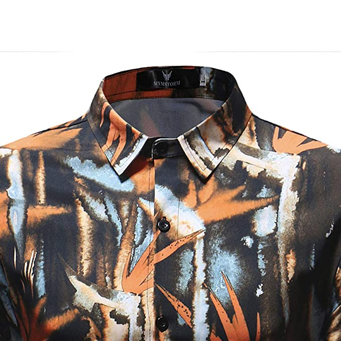 Blusa Impresa de la Manera de los Hombres Ocasionales Camisas de Manga Larga Slim Tops por Internet: Amazon.es: Ropa y accesorios