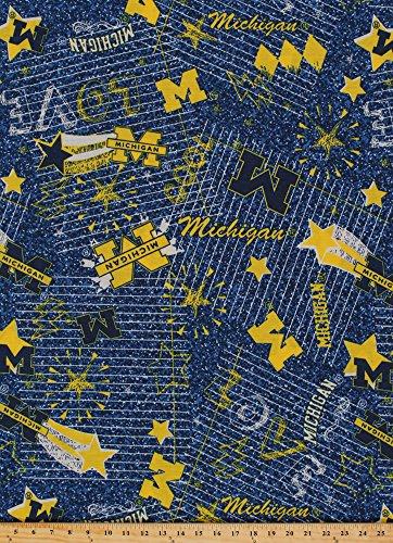 Field's Fabrics EZ Spun Knit University of Michigan Wolverines Jersey Knit Blue Yellow College Knit Fabric by The Yard ()