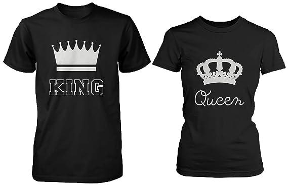 Juego de camisetas para parejas, diseño con corona y las palabras en inglés King y Queen, algodón, color negro: Amazon.es: Ropa y accesorios