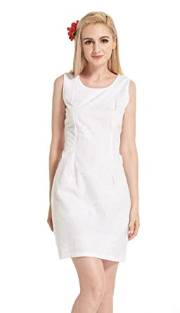 Made In Hawaii Womens Hawaiian Luau Tank Dress Palms All Over In White Wedding S